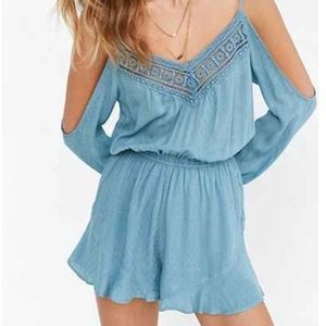 Dresses & Skirts - UO ECOTE OFF SHOULDER PURPLE ROMPER